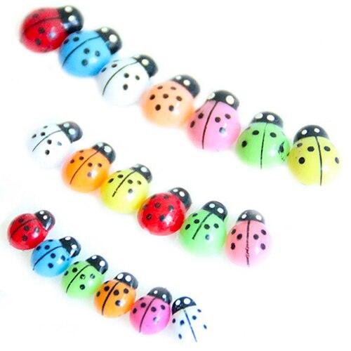 POP ITEM! 100Pcs Colorful Mini 3D Wall Stickers Home Decor Kid Toys DIY Ladybird Ladybug Christmas Gift 6LF8 2