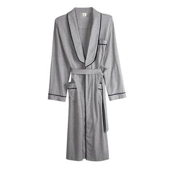 Bata de talla grande M-XXXL hombre, ropa de dormir de Color gris, bata de manga larga, albornoz, Kimono de baño con cinturón, Primavera