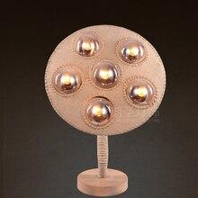 Vintage American rustic personality glass creative living room decorative linen Art Cafe bedroom floor lamp