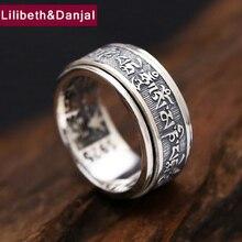 Prawdziwe 925 Sterling tajlandia srebrny pierścień mężczyźni tybetański buddyjski sutra serca obróć pierścień elegancka biżuteria w stylu vintage smok G70