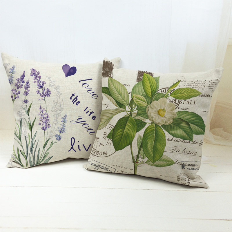Violet Plant And Letters Print Cushion Cover Modern Style