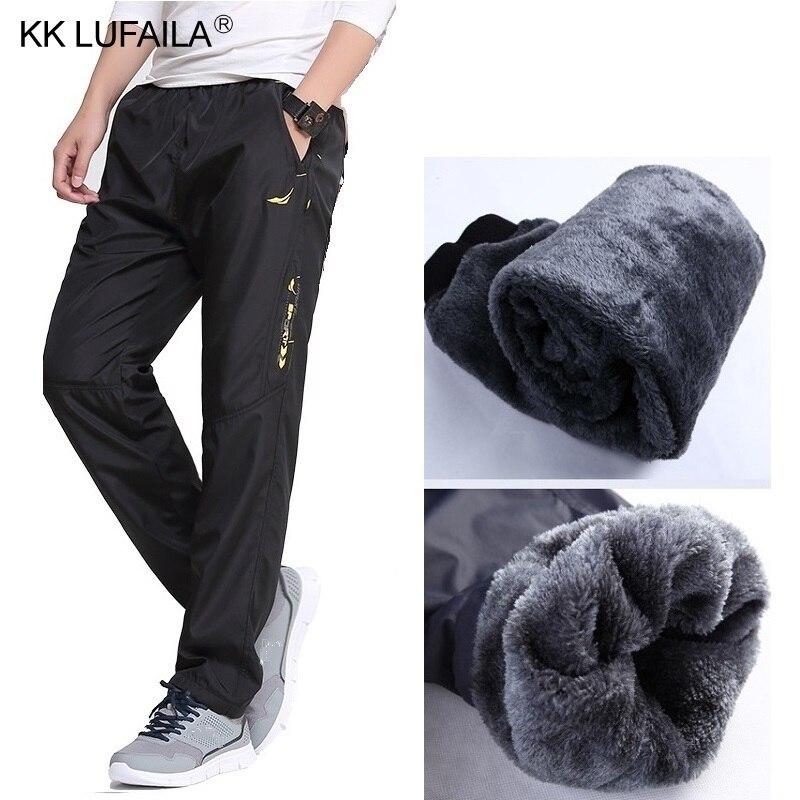 Brand Men's Wool Pants Outside Velvet Thick Joggers Fleece Winter Super Warm Pants Heavyweight Zipper Trousers Men Sweatpants
