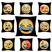 7 Types 40*40cm Hot Funny Smiley Sequins Whatsapp Emoji Variable Color Change Face Cushion / Unstuffed Pillow