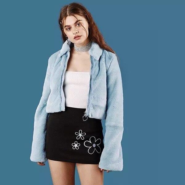 ddc7702021a Unif Kiko women Winter vintage zipper heart love ring Blue Faux Fur Coat