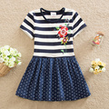 Retail! Neat 2016 style short-sleeved dress princess party tutu dress of spend A word children dressed girl's clothes SH5908