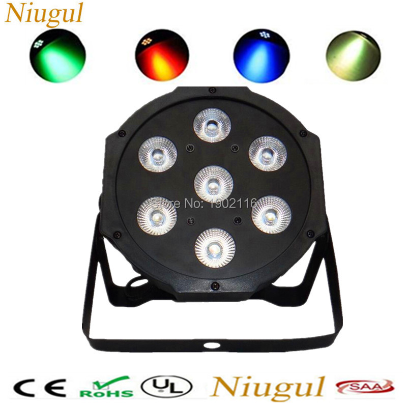 Niugul 7x12W LED Par Light RGBW 4in1 Flat Par LED DMX512 Business Disco Lights High Power With Professional Stage DJ Equipment
