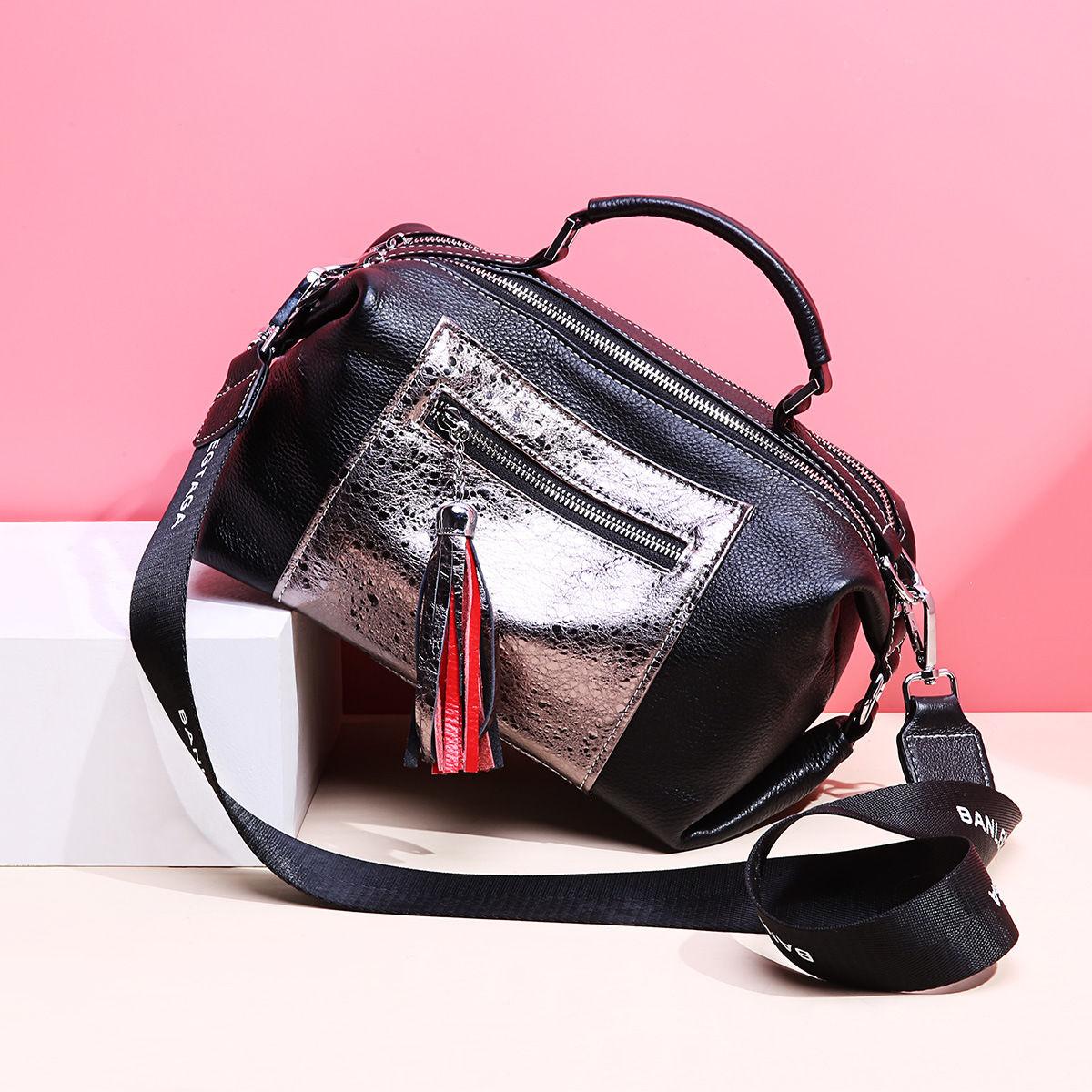 Metalic Silver Panelled Boston Bag Tassel Design 100 Genuine Leather Women Handbag Large Daily Purse Luxury
