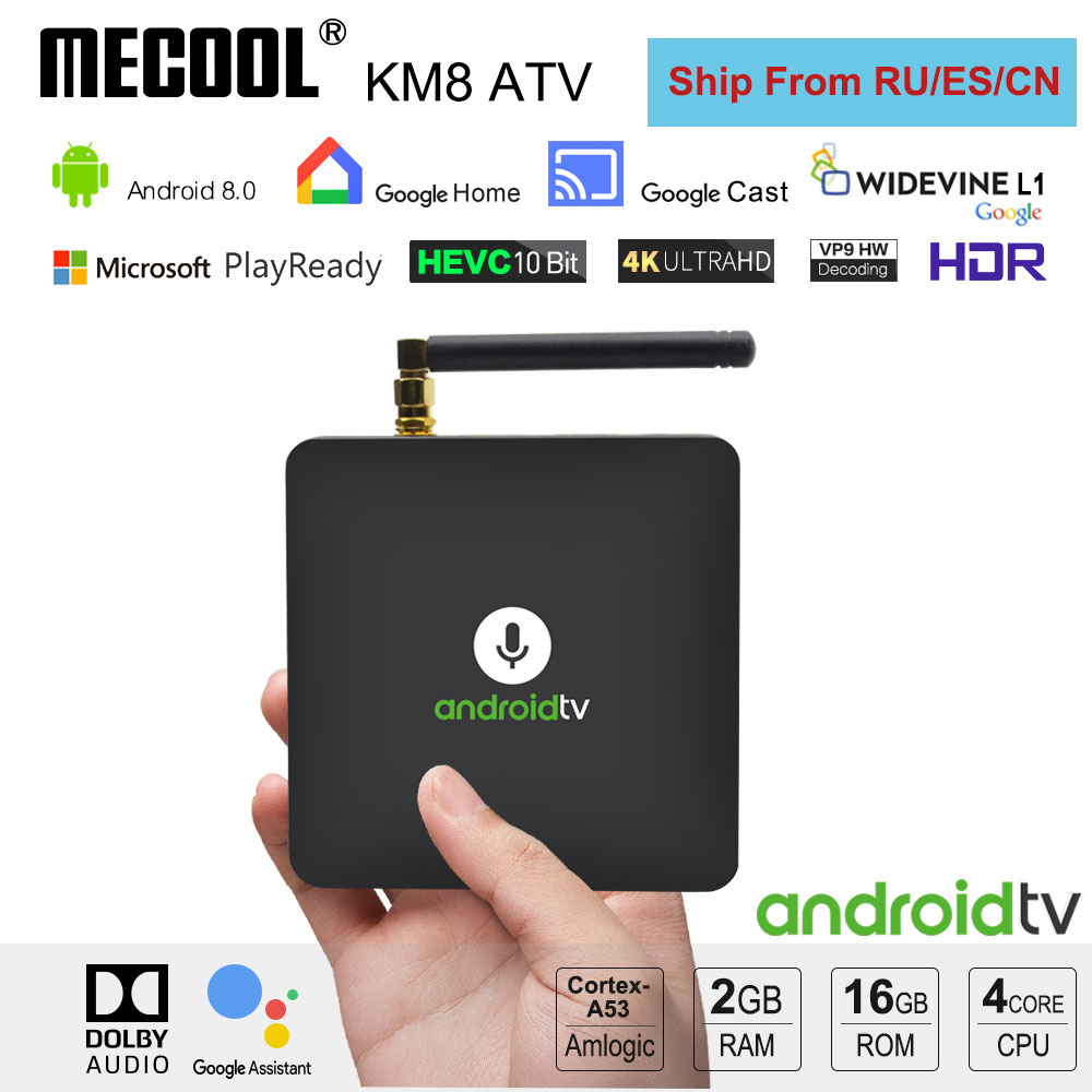Mecool KM8 TV Box Android 8 0 Voice Control 2GB 16GB Amlogic S905X 2 4G WiFi