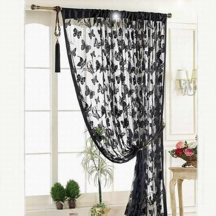 Adaptable Window Curtain Bedroom Living Room Translucent Strip Tassel Butterfly Pattern Black Door Balcony Screen Decoracion Para El Hogar Bright Luster