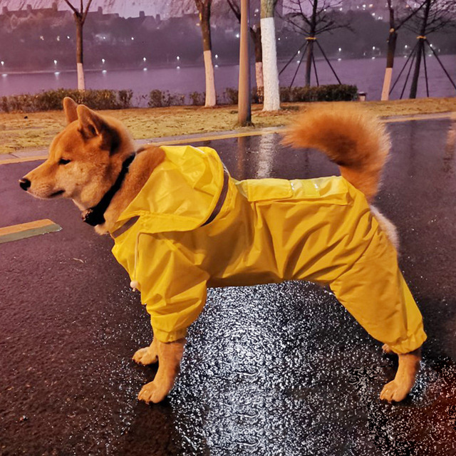 HOOPET Dog Riancoat Jumpsuit Rain Coat for Dogs Pet Cloak Labrador Waterproof Golden Retriever Jacket