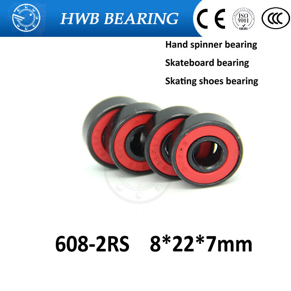 Free shipping 50pcs/lot red 608-2RS 8X22X7mm 608RS  Ball bearings 8*22*7mm for 608 hand spinner roller skate inline skates shoes free shipping 608rs 608 2rs 608 bearing abec 9 8 22 7 mm 8x22x7 mm skateboard ball bearings emq z3v3 608 2rs 608rs bearing