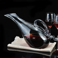 Artificial Blowing Manual Cold Cut Lead free Crystal Glass Swan Style Harp Shape Transparent Wine Decanter