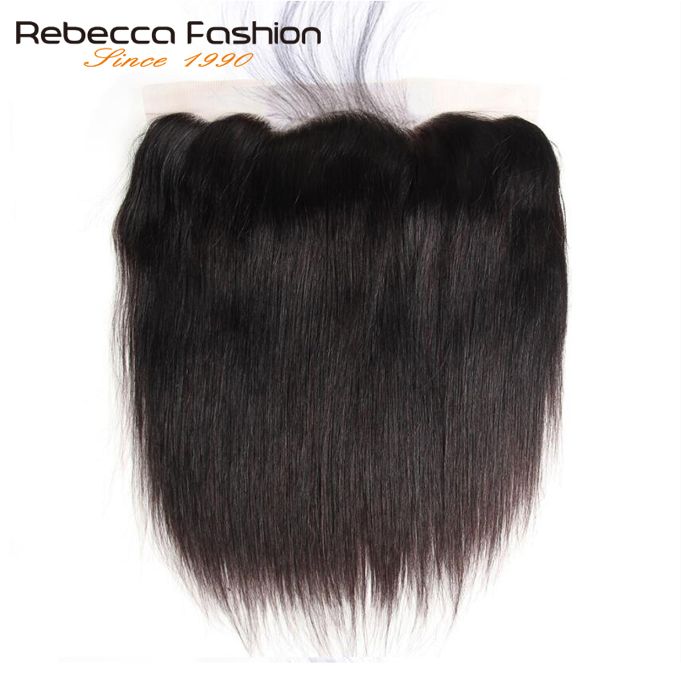 Rebecca Human Hair Lace Frontal Closure Peruvian Hair Straight Frontal 13X4 Lace Frontal With Baby Hair Remy Hair Free Shipping