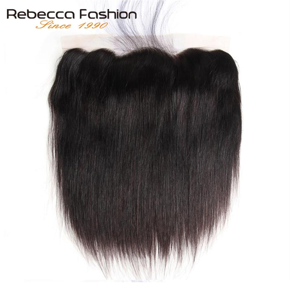 Rebecca Human Hair Lace Frontal Closure Peruvian Hair Straight Frontal 13X4 Lace Frontal With Baby Hair Remy Hair Free Shipping