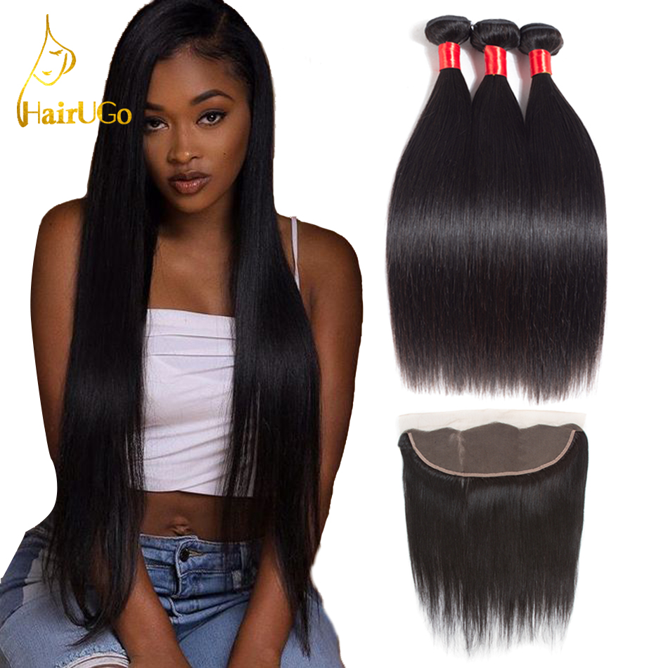 HairUGo Peruvian Straight Hair Weave Bundles With Frontal Closure 13 4Lace Frontal With Bundles Remy Hair