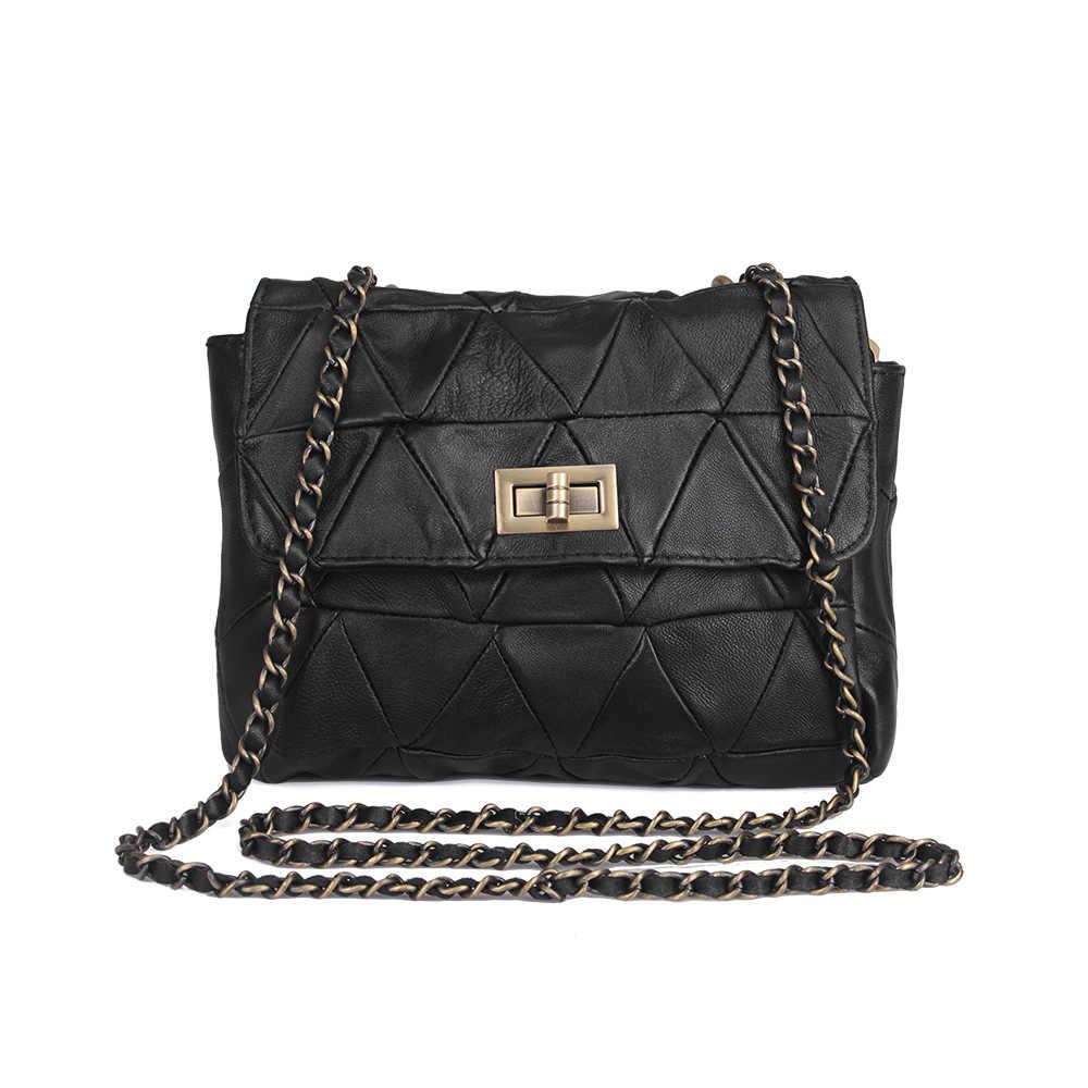 Sheepskin Genuine Leather Women Handbags Designer Chain Female Shoulder Bags  Flat Woman Crossbody Bag Studs Ladies 128208f5b7445