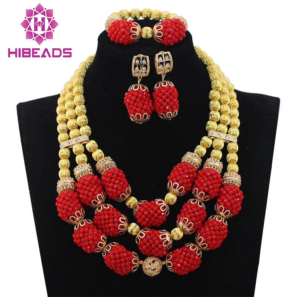 Gold Wedding Statement Necklace Set Trendy Amazing Red Bridal Beads African Jewelry Set for Women New Free ShippingABL931Gold Wedding Statement Necklace Set Trendy Amazing Red Bridal Beads African Jewelry Set for Women New Free ShippingABL931