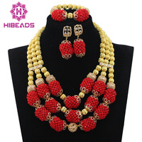 Gold Wedding Statement Necklace Set Trendy Amazing Red Bridal Beads African Jewelry Set for Women New Free ShippingABL931