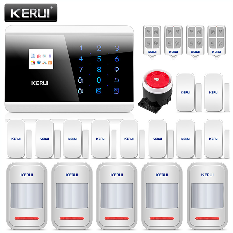 KERUI 8218G Wireless Home Business Alarm Security System GSM PSTN Dual APP Control Auto Dial With Door Sensor Motion Detector wireless gsm pstn home alarm system android ios app control glass vibration sensor co detector 8218g
