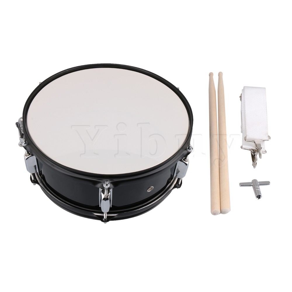 Yibuy Stainless Steel Black 14 Inch Snare Drum for Kids&Beginners with Drum Strap Stick Key Percussion Musical Instrument