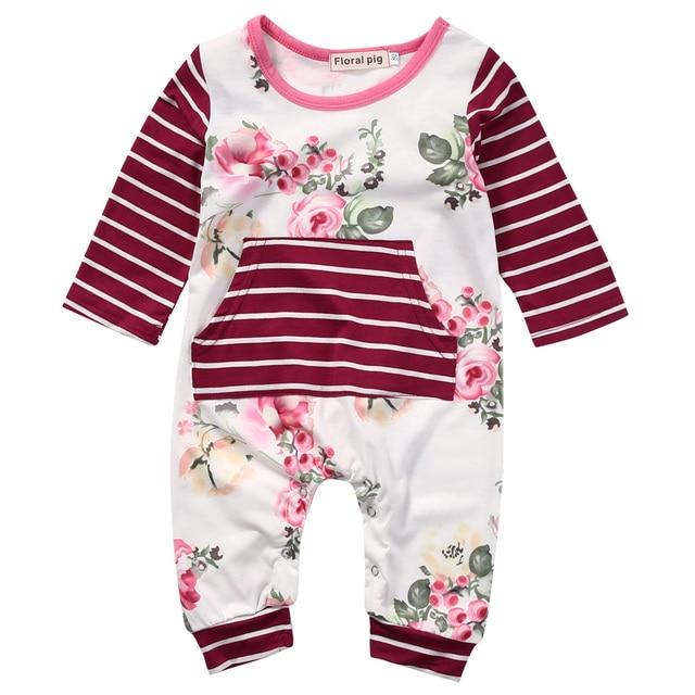 7aa75093561f Newborn Infant Kids Baby Girls Cotton Floral Romper One piece ...
