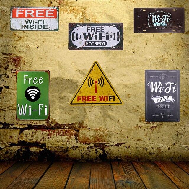 Metal Tin Signs Free Wi Fi Pub Club Party Poster Restaurant Coffee ...