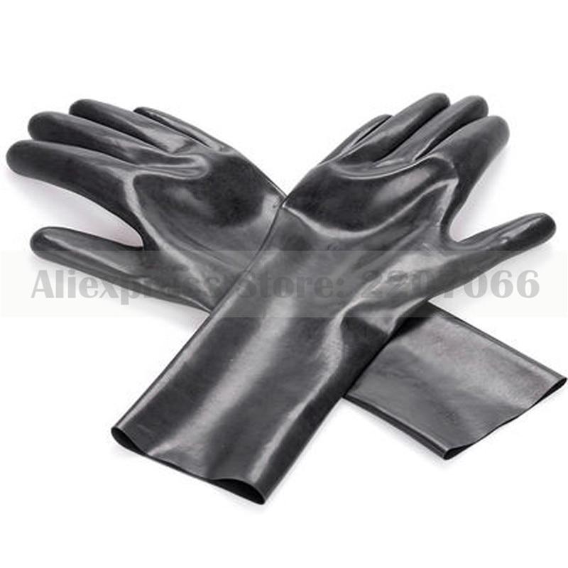 Seamless Solid Black Rubber Latex Fetish Short Gloves RLM033