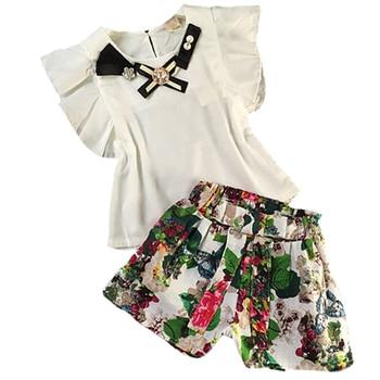 828e00b33 11 12 10 años conjunto de Ropa para Niñas conjunto de camisetas de manga  larga + pantalones cortos de flores ropa para adolescentes infantis Niña