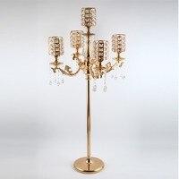 5 arms Золотая подставка свеча кристалл подсвечник высокий подсвечники свадебные Большой канделябры стол центральные события дорога привест