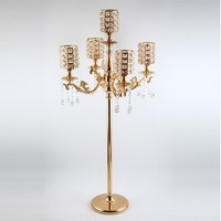 5 arms gold stand candle crystal candlestick tall candle holders Wedding large Candelabra Table Centerpieces Event Road Lead
