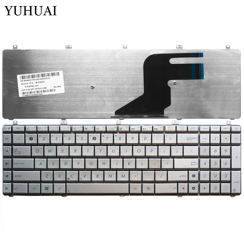 US New laptop <font><b>Keyboard</b></font> For <font><b>ASUS</b></font> N55 N57 <font><b>N55S</b></font> N55SF N55SL English silver <font><b>keyboard</b></font> image