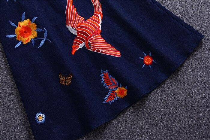 set Fleur Denim mollet Femme Pièce Manches Multi Mi 2018 Courtes À Et 2 Twin Oiseau Jupes Blanc T Tops Brodé Ensembles shirt Jupe De aPPqB8Hw