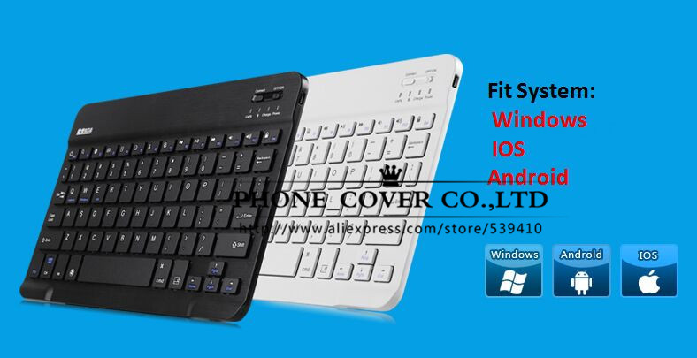 Top quality universal Bluetooth Keyboard For Windows IOS Android Tablet PC Multimedia Aluminum Wireless Bluetooth Keyboard 9 10 universal 61 key bluetooth keyboard w pu leather case for 7 8 tablet pc black
