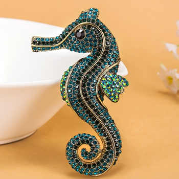 12pcs/lot wholesale fashion Bow Seahorse Animal Brooch For Men Vintage Rhinestone Crystal Hats Accessories Hijab Pin - DISCOUNT ITEM  32% OFF All Category