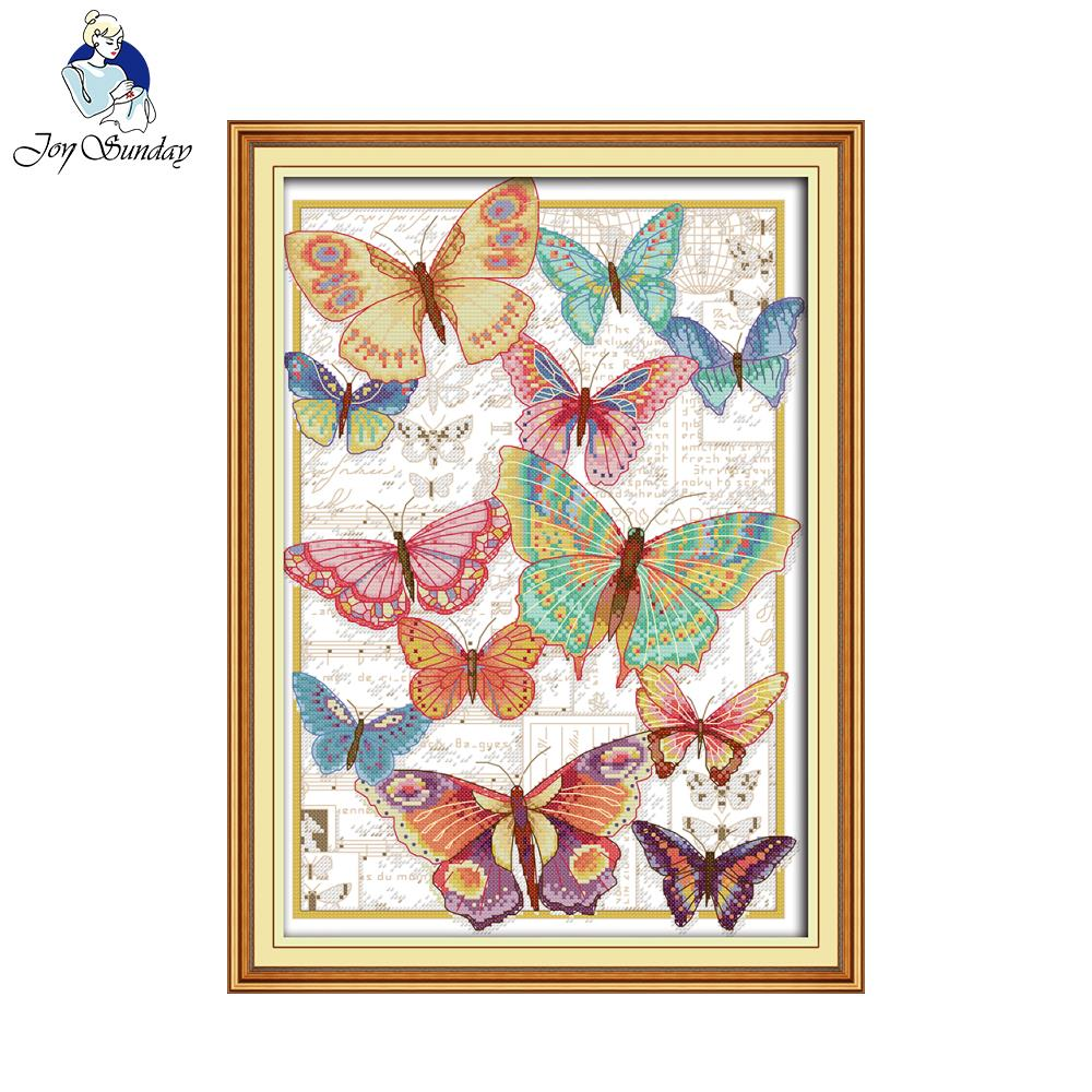 Joy Sunday Butterflies fly freely Craft stitch painting cross charts For Embroidery Needlepoint Set
