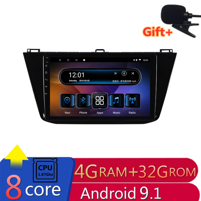 9 4G RAM 2.5D IPS 8core Android 9.1 Car DVD Multimedia Player GPS For Volkswagen VW Tiguan 2017 2018 audio radio navigation image