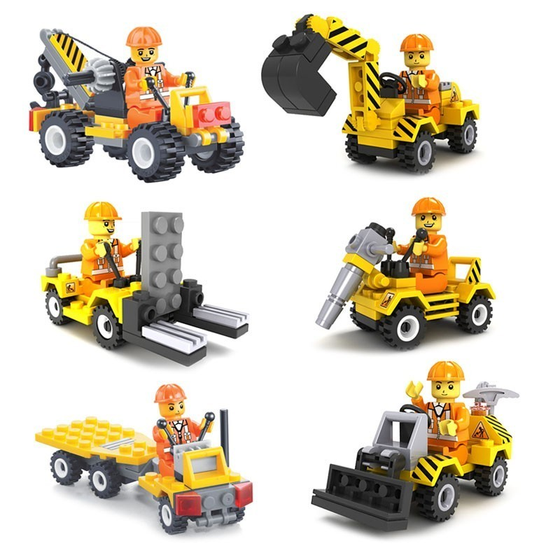 6 styles City Building Team Engineering Series Excavator Model Building Blocks set Bricks For Children Toys Boy Gift Legoingly full set 3 styles transformation robot series mini bricks toys diy diamond model nano building blocks hot selling children gifts