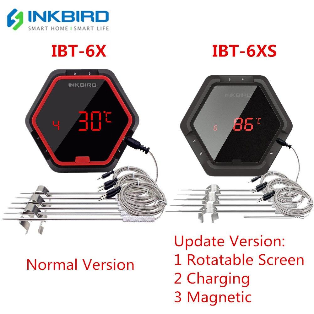 IBT Inkbird 6X 6XS 2 Tipos de Alimentos Cozinhar CHURRASCO Termômetro Sem Fio Bluetooth 6 Sondas & Temporizador Para Forno Grill Carne controle de Aplicativo gratuito