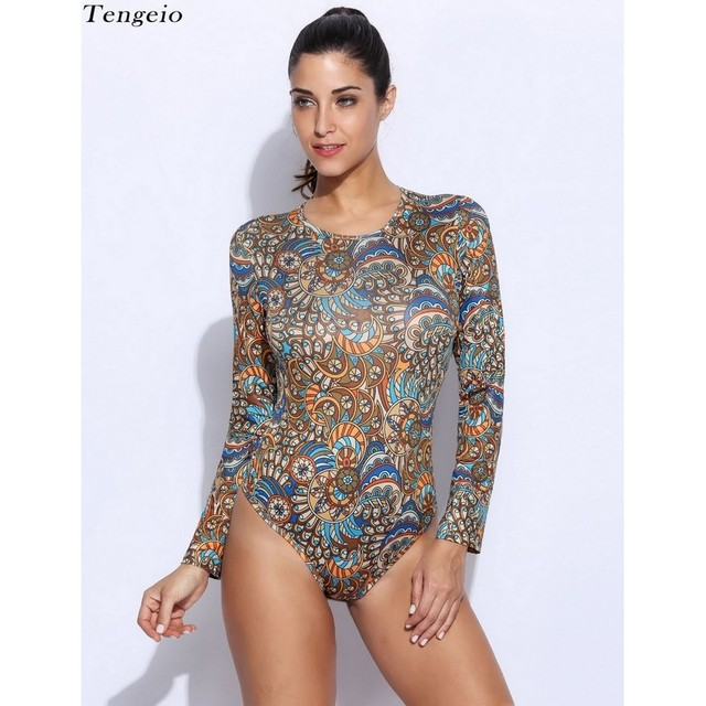 Sexy Spandex Bodysuit Women Romper Long Sleeve Bohemia Printed O-Neck Tight Summer Overalls Playsuit Combinaison Femme S140