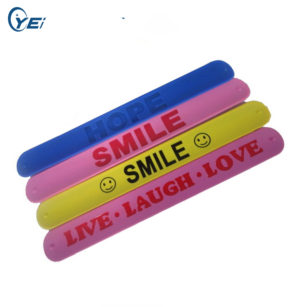 500PCS customized Personalized logo or text Rubber silicone slap wristbands for promotional gifts Y060720