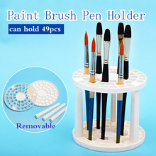 цены 49Holes Penholder Watercolor Painting Brush Pen Holder Rack Display Stand Support Holder Paint Brush For Artist Art Supplies
