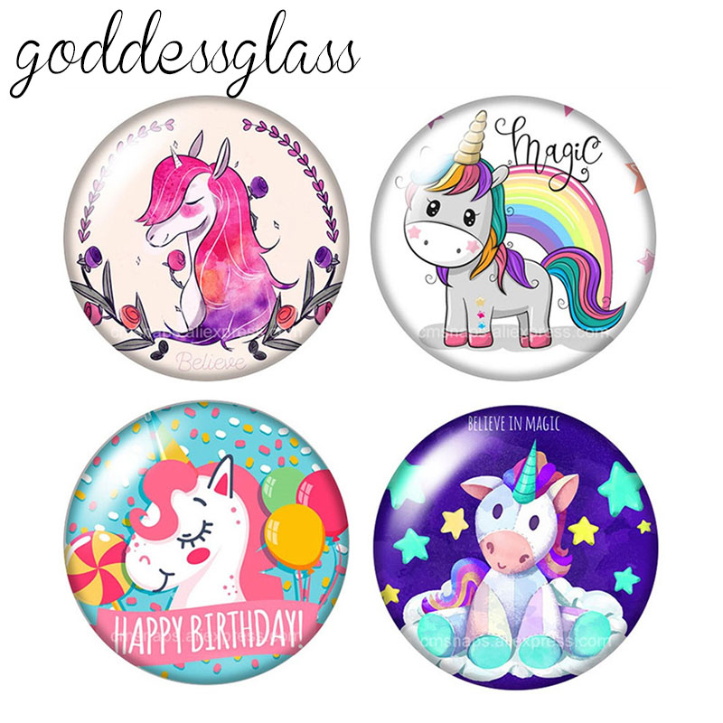 New Cartoon Unicorn Magic Dream 10pcs 12mm/18mm/20mm/25mm Round Photo Glass Cabochon Demo Flat Back Making Findings ZB0855