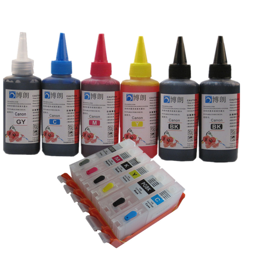 6 INK For CANON pixma MG7740 TS8040 TS9040 printer PGI 470 CLI 471 refillable ink cartridge + 6 Color Dye Ink 100ml free shipping 100ml x 5pcs pgi 225 cli 226 edible ink for canon ip4820 ip4810 ip4920 ix6520 inkjet printer