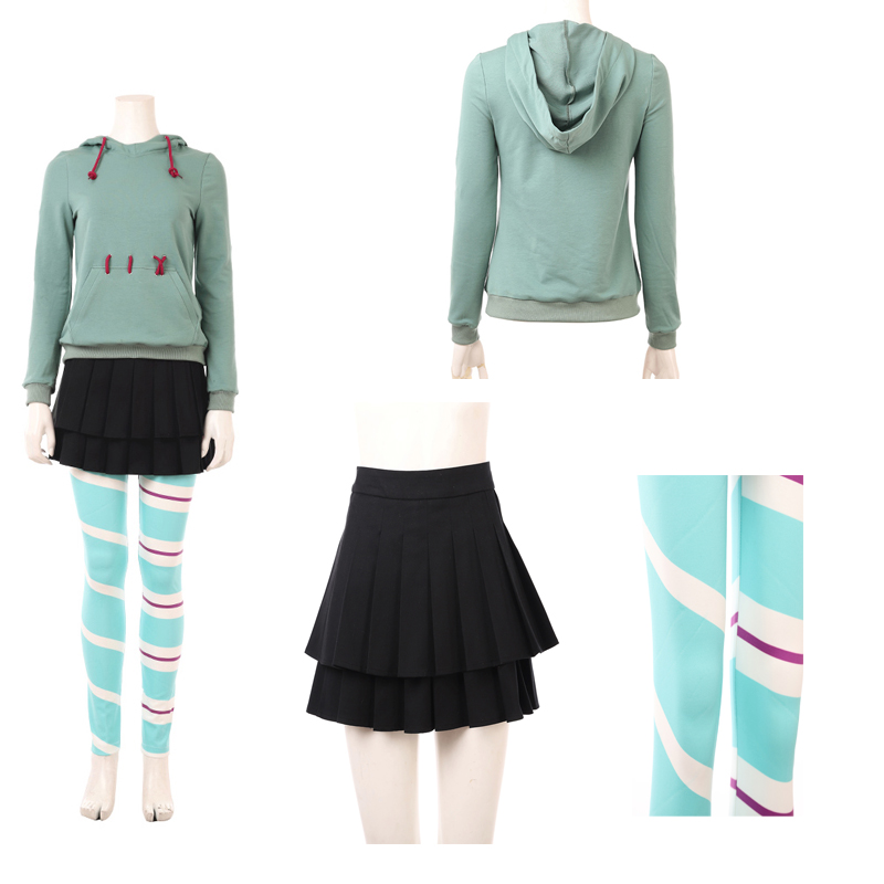 New Wreck-It Ralph 2 Vanellope von Schweetz Cosplay Costume Halloween Outfit Custom Made Any Size