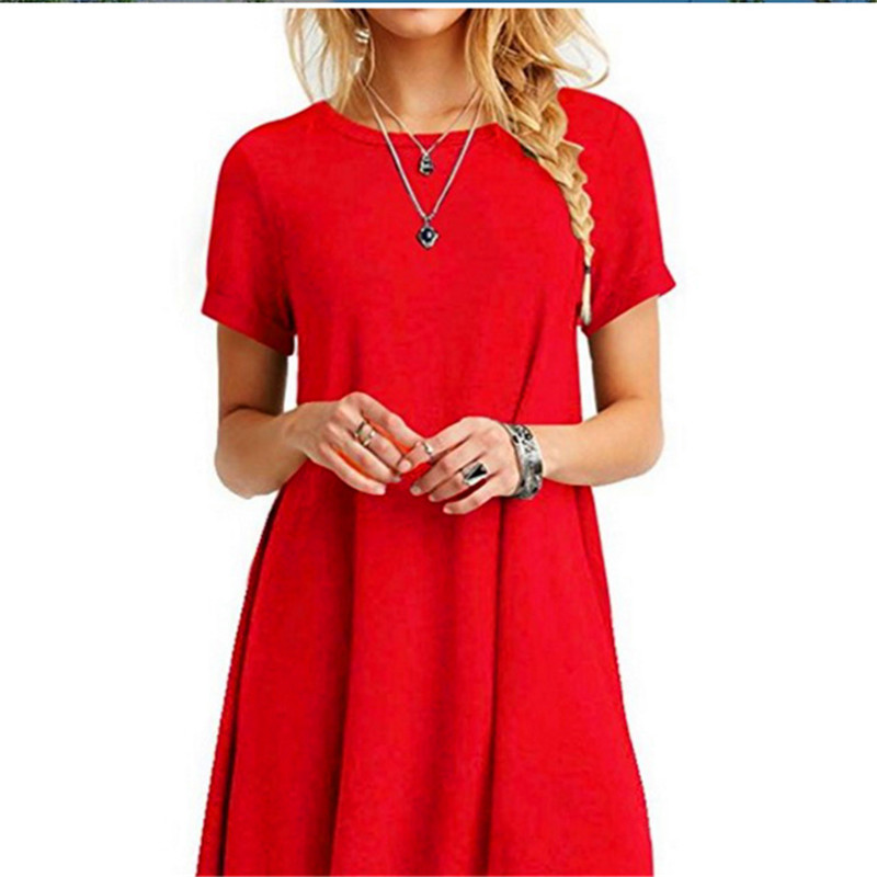 High Quality Fashion Women Black Blue Dress Summer Short Sleeve O-Neck Casual Loose Dress Female Street Plus Size Dress Vestidos 16