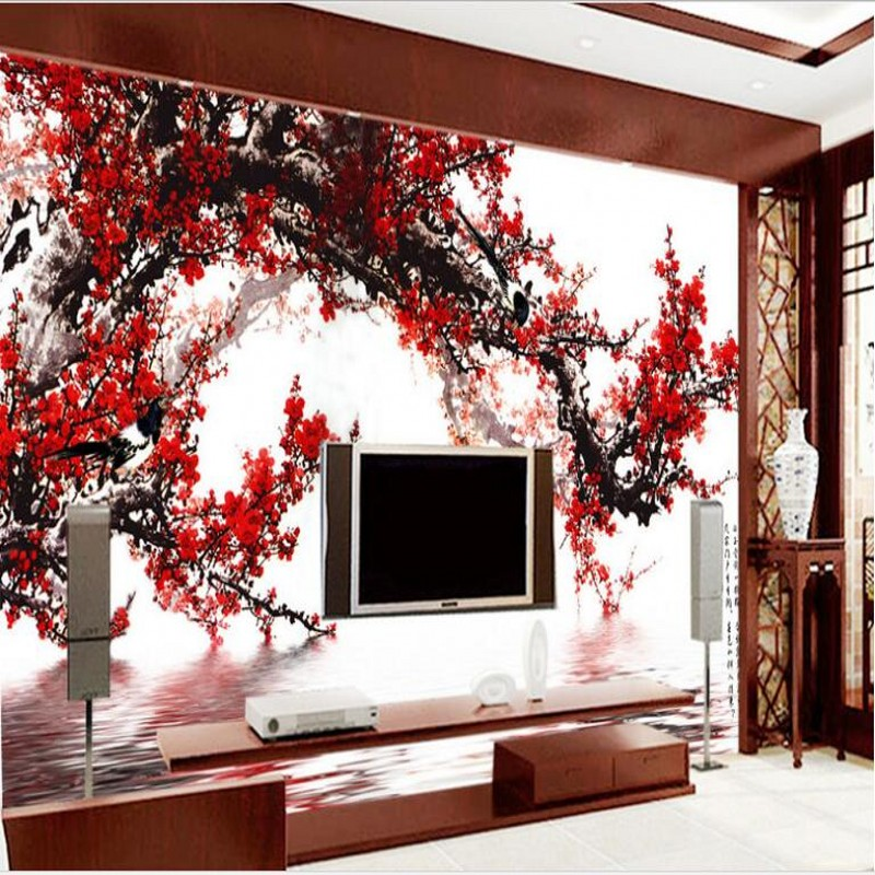 beibehang Customized large - scale murals Plum Blossom reflection Samuume charm TV background wall non - woven wallpaper