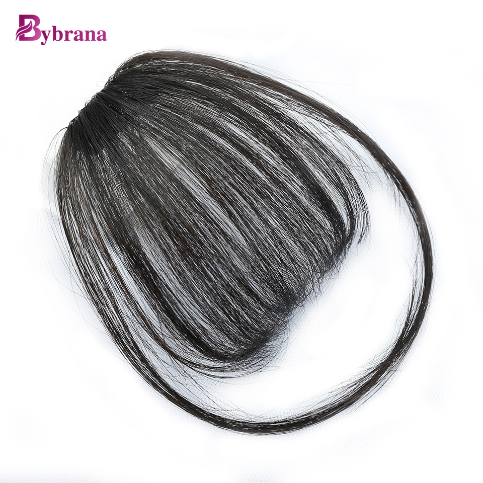 Bybrana 100% Human Remy Hair Bangs Kort Hair Clip In Natural Color - Mänskligt hår (svart)