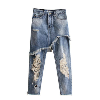 New  Summer  water hole in Europe and the United States fan denim skirts pants nine minutes of pants недорого