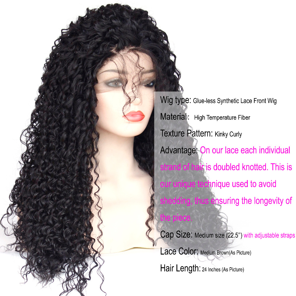 Perucas encaracoladas kinky do laço do cabelo