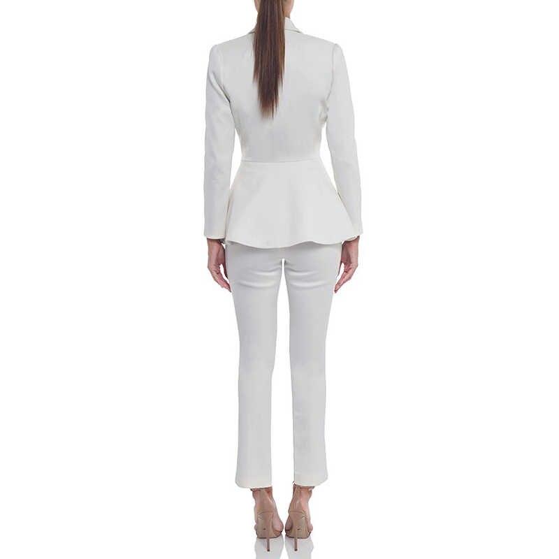83d14026b4 ... Beateen blanco de la mujer botones Formal elegante Blazer trajes de 2  piezas conjuntos de traje ...